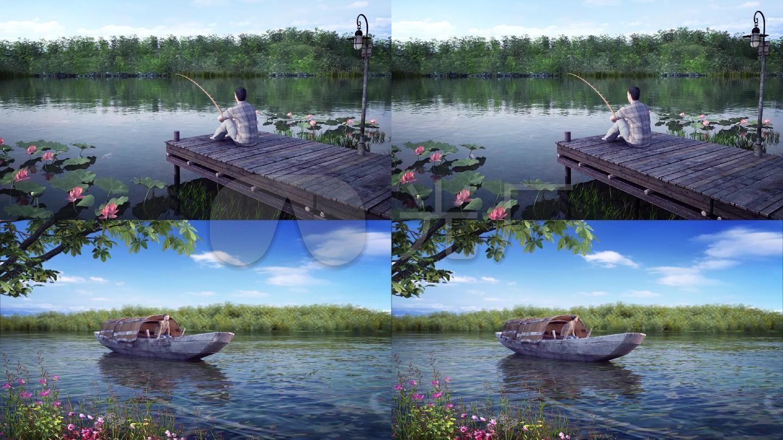 钓鱼-河边-小船-捞鱼