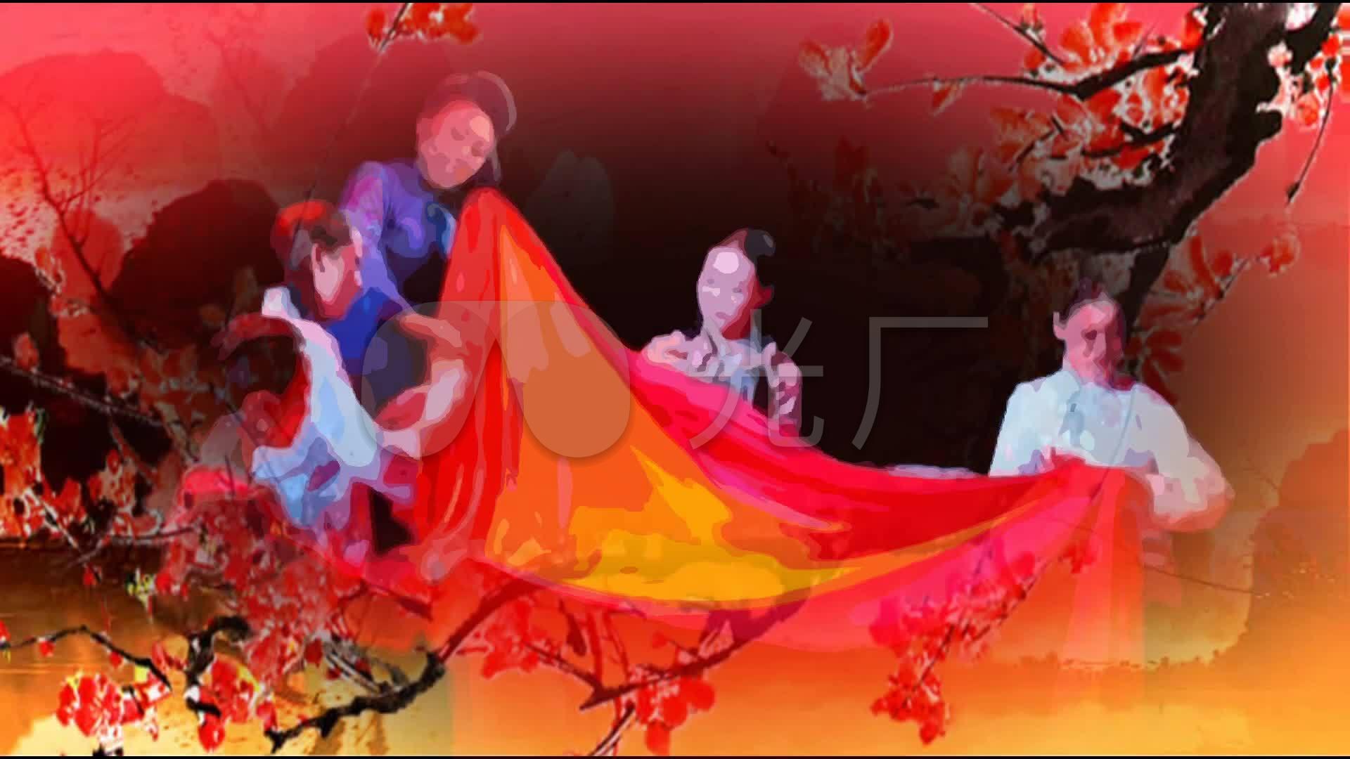 红梅赞革命歌曲v成品成品舞台配乐视频_1920X国画教程背景图片