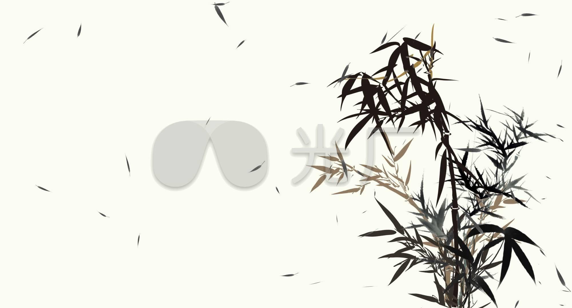 竹子中国风素材视频摇曳视频飘动画通道水墨_积叉竹叶法图片