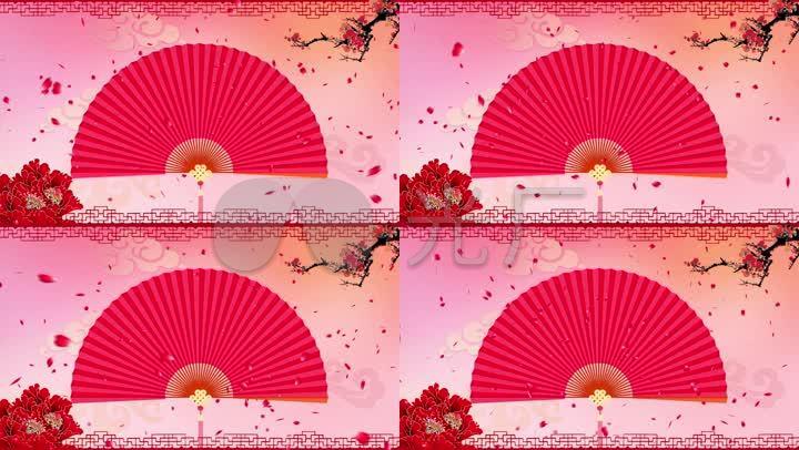 喜庆中国风扇子梅花花瓣戏曲相声小品背景