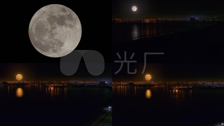 月圆之夜海岸线楼前圆月视频素材
