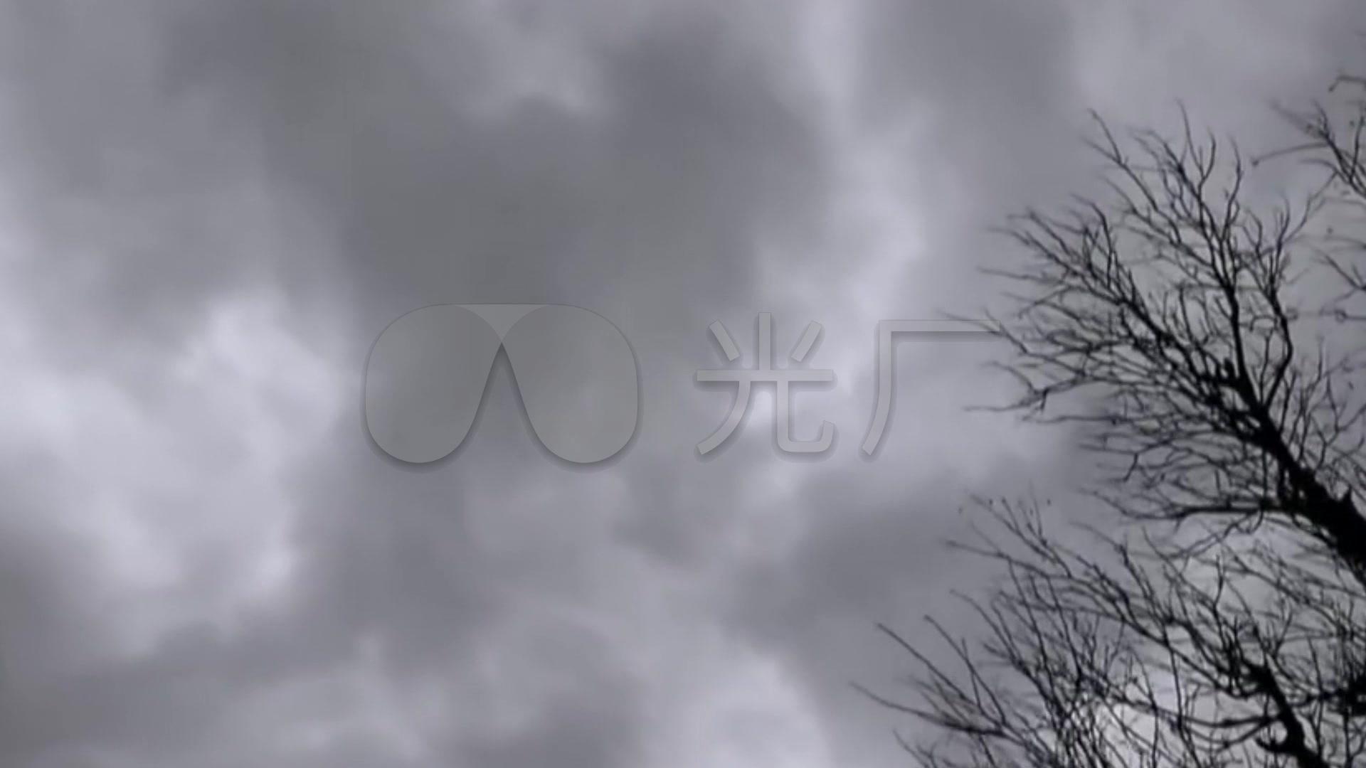 阴天乌云下雨打雷视频素材