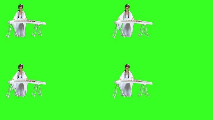 美女古筝弹视频绿幕抠像素材古装_1280X720美女衣胸换视频图片