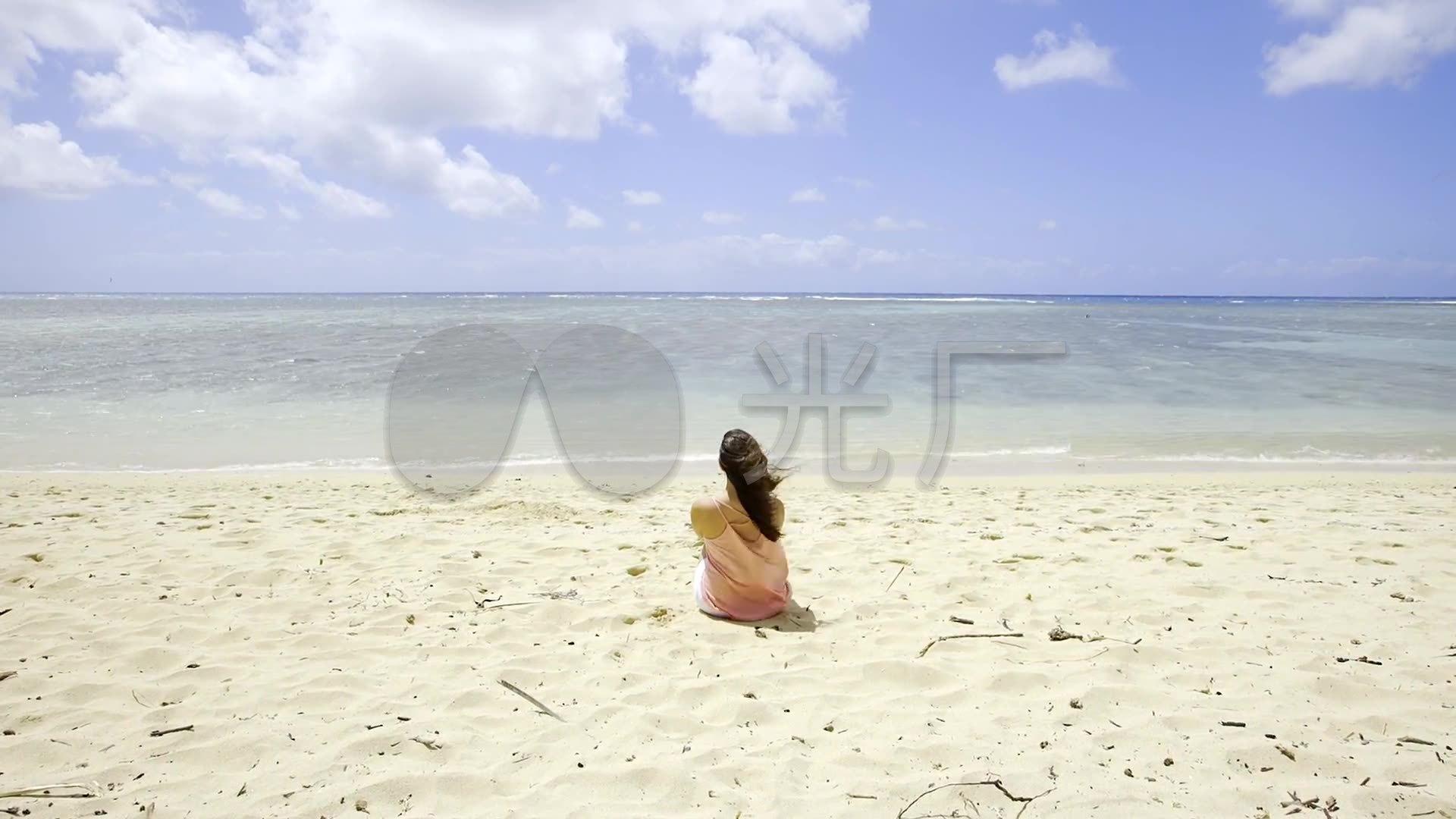 海边沙滩-美女女人背影-看海听海_1920x1080_高清视频