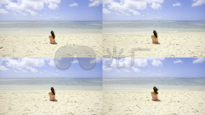 海边沙滩-美女女人背影-看海听海