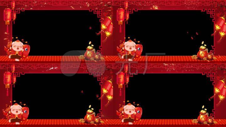 2019新年祝福猪年福袋边框_1920x1080_高清视频素材