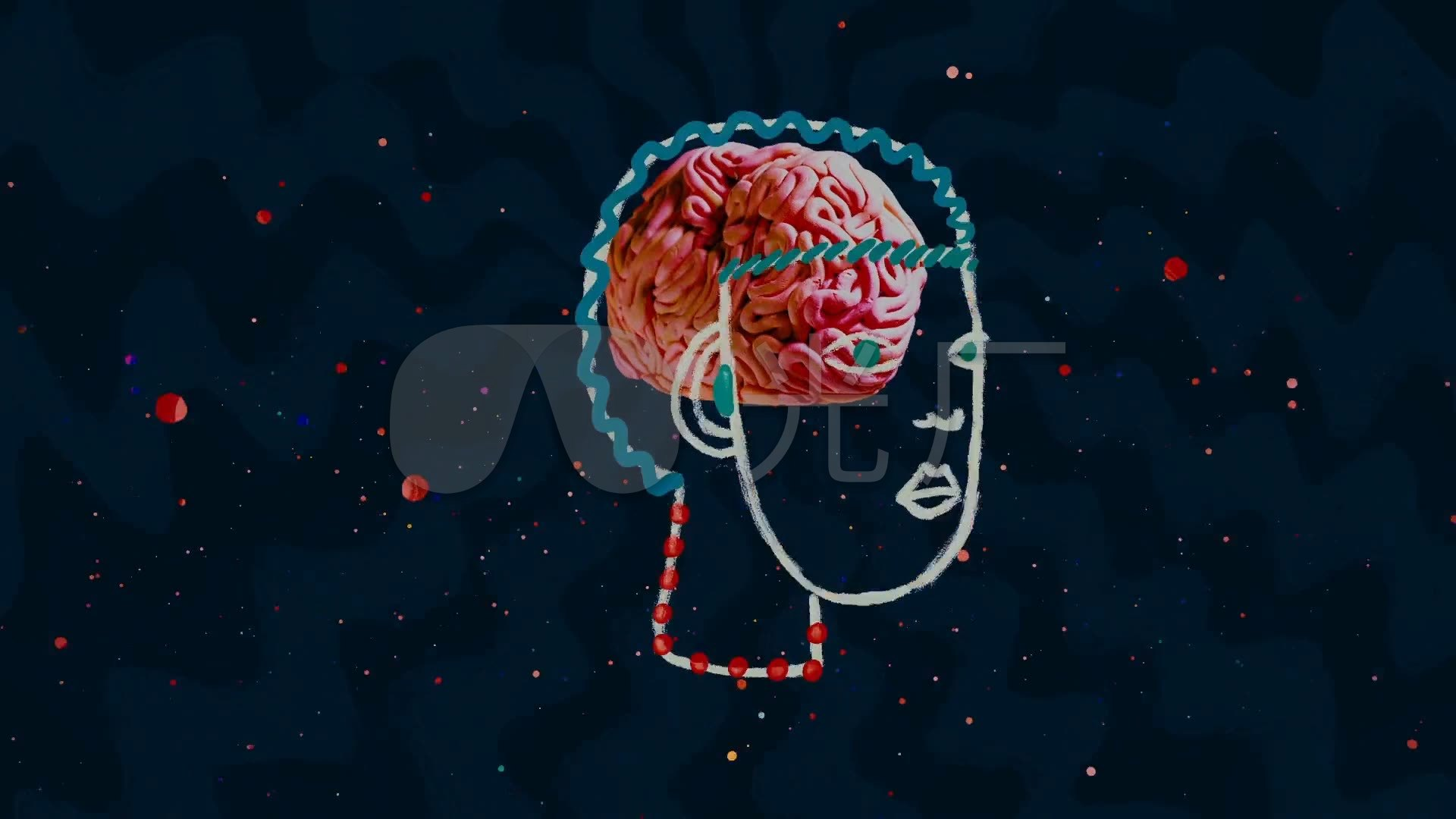 抽象大脑人头像素材