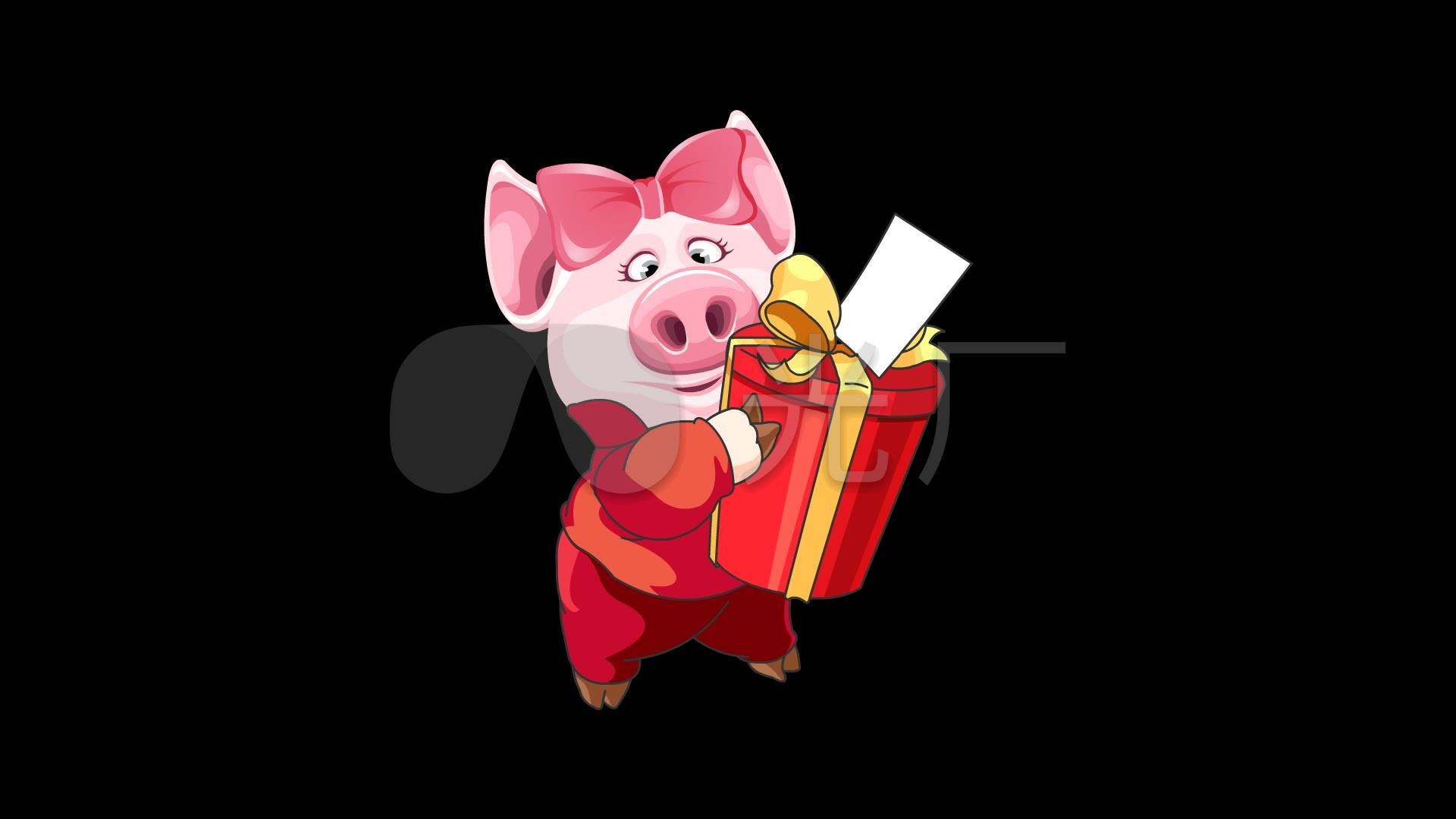 卡通猪送礼物喜庆动画循环通道_1920x1080_高清视频图片