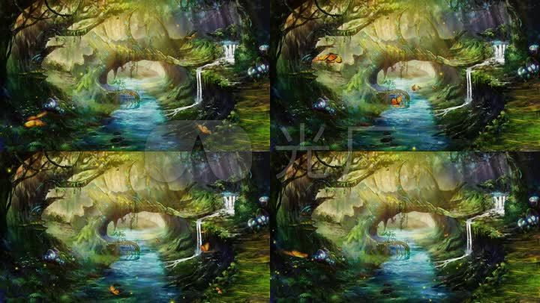 卡通魔幻森林小桥流水图片
