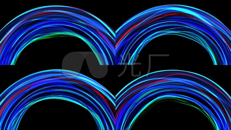 蓝绸圆圈光线拱门