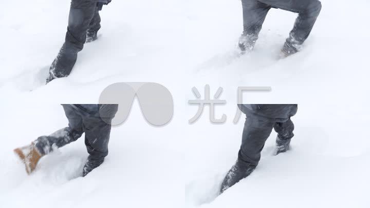 雪地行走,腳特寫,慢動作圖片