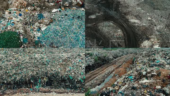航拍垃圾山-塑料污染地球环境破坏视频素材