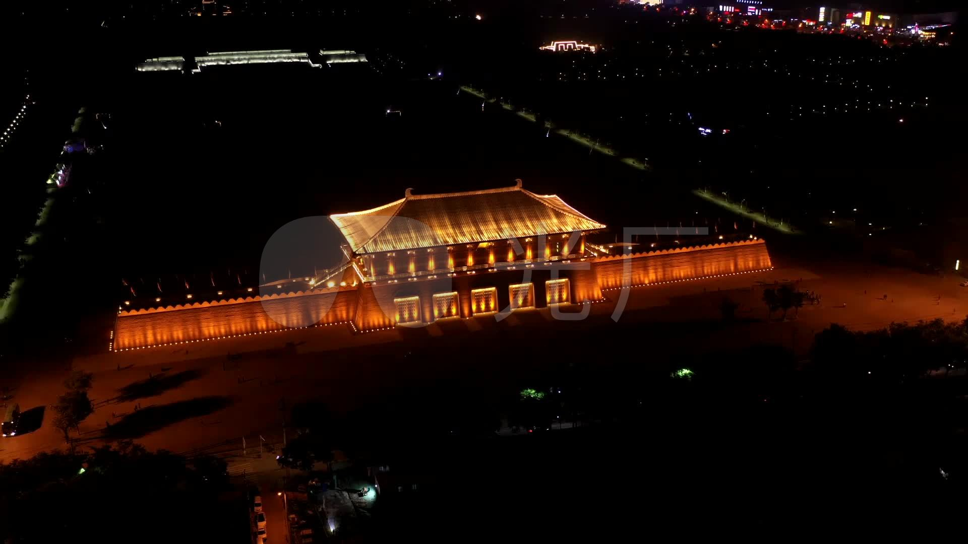 西安大明宮夜景航拍圖片