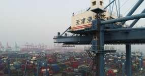 天津港口鸟瞰图视频素材