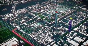 E3d城市4K北京建筑模型区位分析地图AE模板