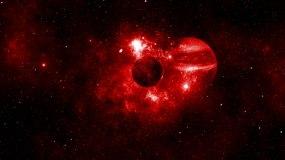 【4K星球】红色宇宙银河星球撞击陨石背景视频素材