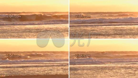 海边 海滩 沙滩 夕阳 海浪