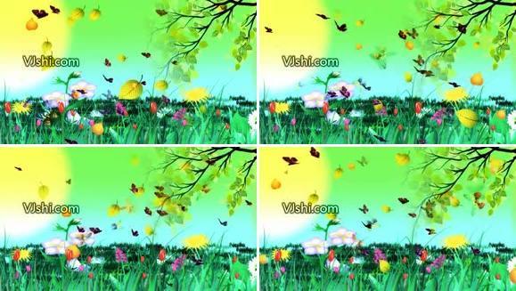 春色 蝴蝶 彩虹 草丛 飘落 树叶