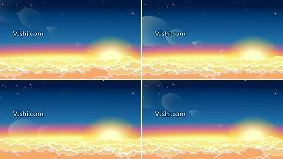 唯美的动画云 日出 太阳 云彩 云层