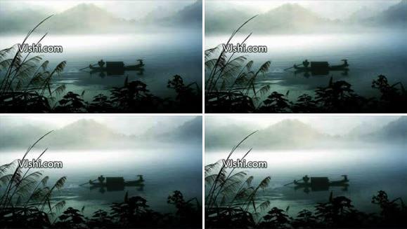 水墨风 湖边小舟