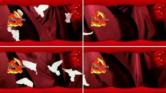 建党节 国庆 led大屏 和平鸽 白鸽