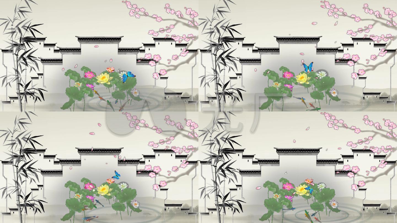 庭院 屋檐 蝴蝶 竹子生长 中国画 水墨 中国风