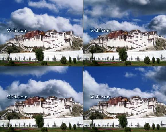 布达拉宫背景场景西藏青藏高原天路