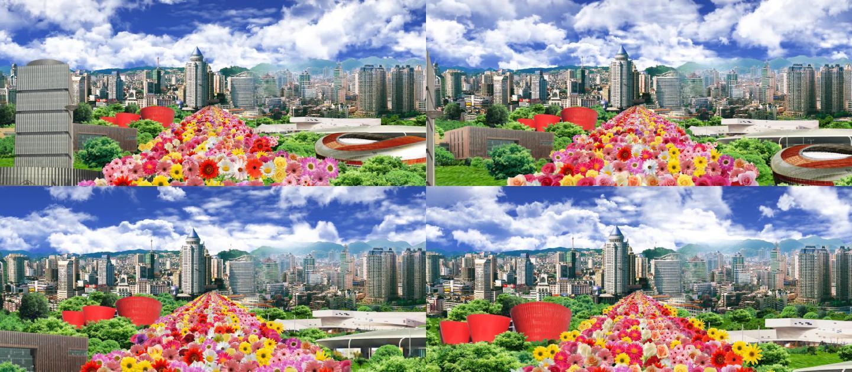歌颂城市发展建设高楼大厦