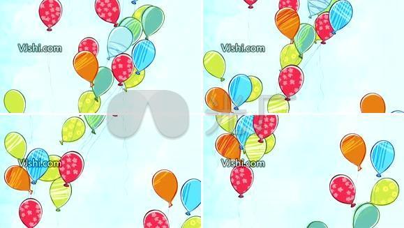 气球 卡通过 六一儿童节