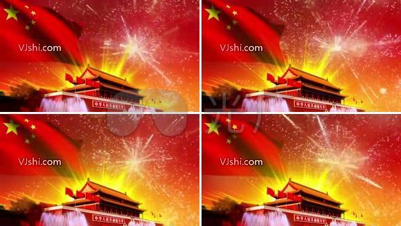 红色素材天安门 国旗 礼花 国庆节