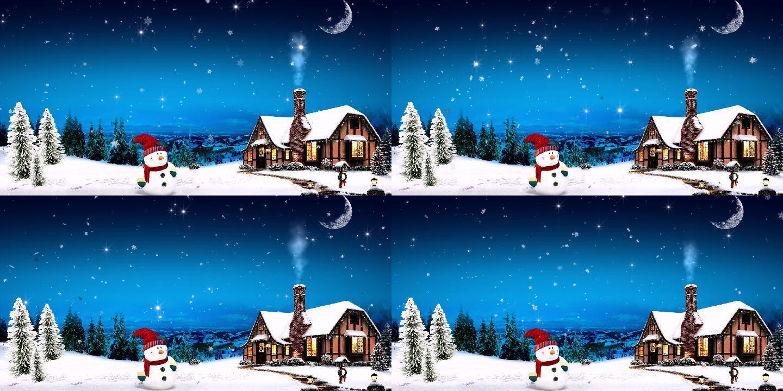 圣诞节 雪人 下雪 星空超清