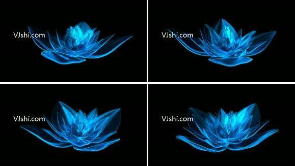 蓝色水晶荷花无限循环(带透明通道)