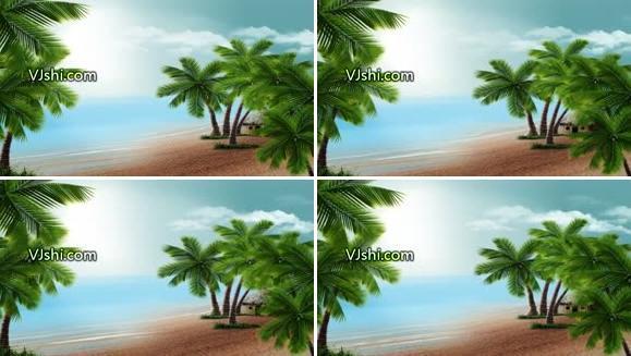唯美海边椰树
