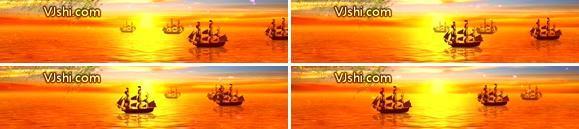 日落海中船