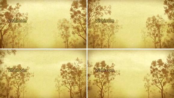 水墨效果树林