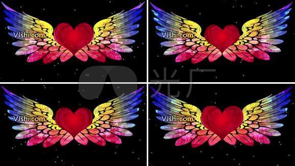 爱心彩红翅膀