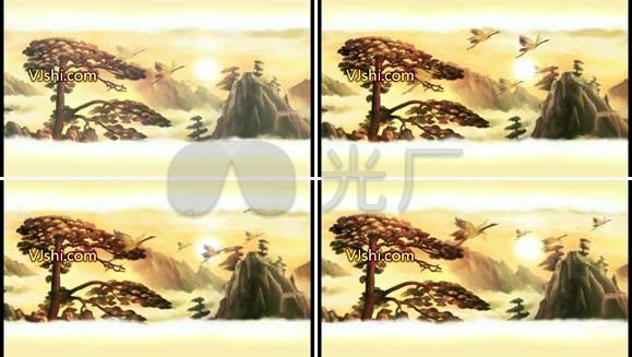 水墨水彩视频松鹤
