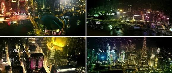 航拍香港夜景高清视频素材