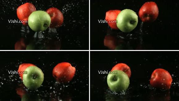 苹果下落溅起水花