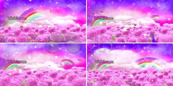 浪漫彩虹花朵蝴蝶