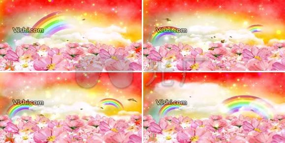 唯美彩虹水彩花
