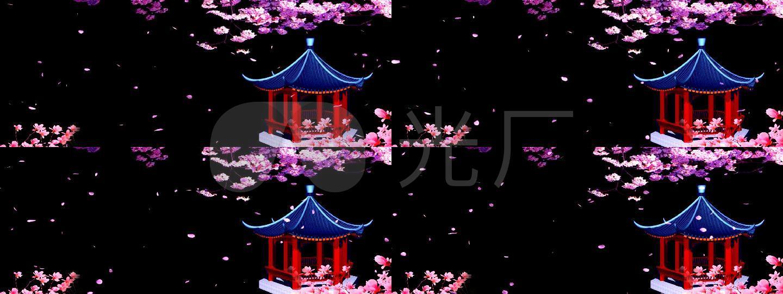 舞台背景·古亭+飘落花瓣