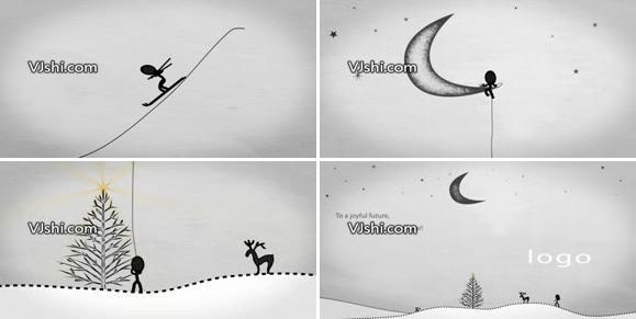 新年卡通动画圣诞节滑雪