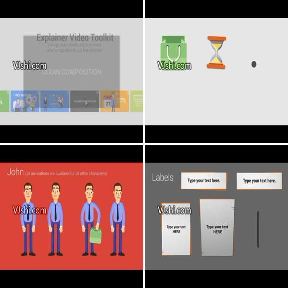 卡通风格的商务宣传推广动画创建器AE模板