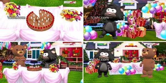 004创意卡通生日祝福视频背景