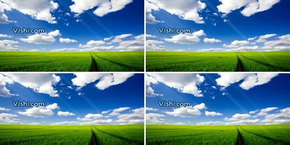无缝循环蓝天草地背景