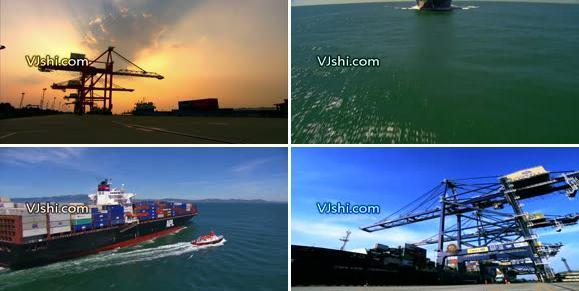 港口码头货轮宣传片素材