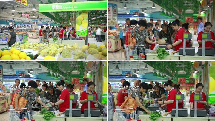 住宅小区商圈超市市场买菜购物高清实拍