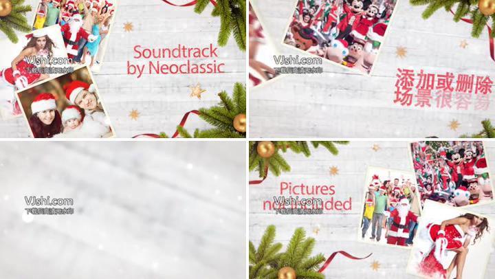圣诞节温馨甜蜜回忆照片展示AE模板