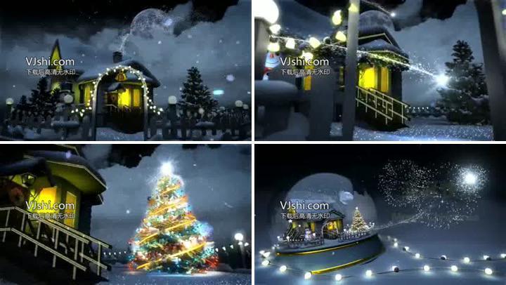 会声会影庆祝圣诞节三维场景片头模版